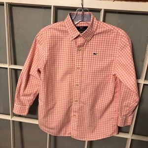 Vineyard Vines pink and white whale shirt